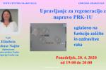 Upravljanje za regeneracijo z napravo PRK-1U